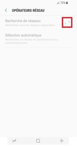 Échec réseau appel Samsung Galaxy S8 recherche