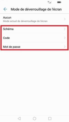 contact code pin ecran verrouillage Huawei (android 7.0)