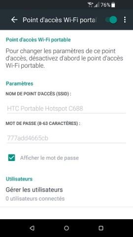 internet HTC android 7 partage connexion