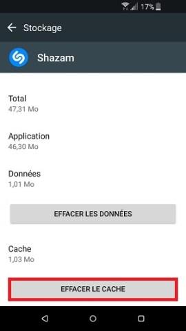 Application HTC effacer le cache