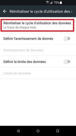 internet HTC android 7 utilisation des données mobiles