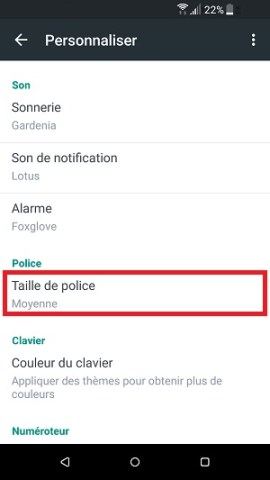 Personnaliser HTC android 7 taille de police