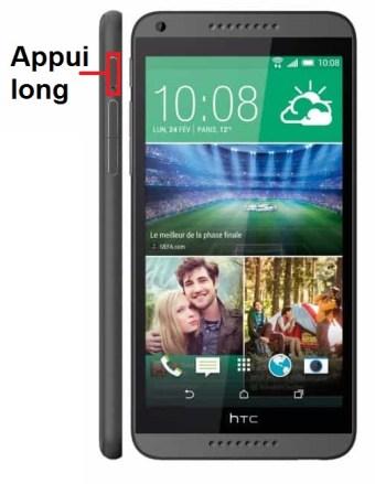 HTC Desire 816 marche arret