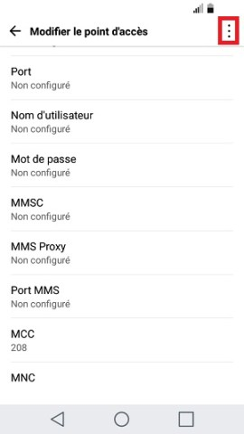 MMS LG android 7 point accès MMS