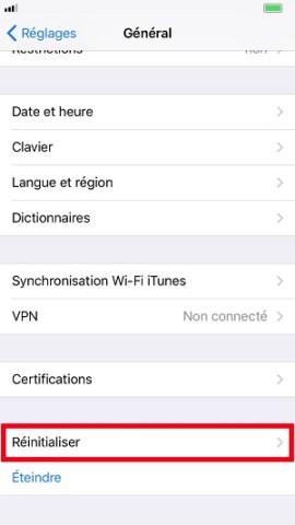 internet iPhone 8 reinitialisation réglages réseaux
