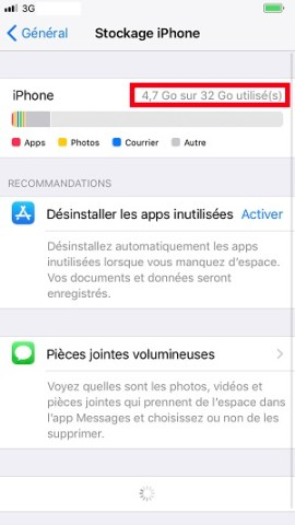 Applications iPhone 8 stockage
