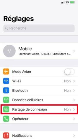 internet iPhone X partage de connexion