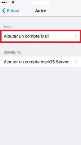iPhone IOS 10 reglages mail ajouter un compte 2