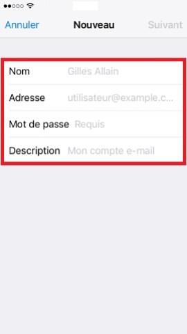 iPhone IOS 10 reglages mail ajouter un compte 3