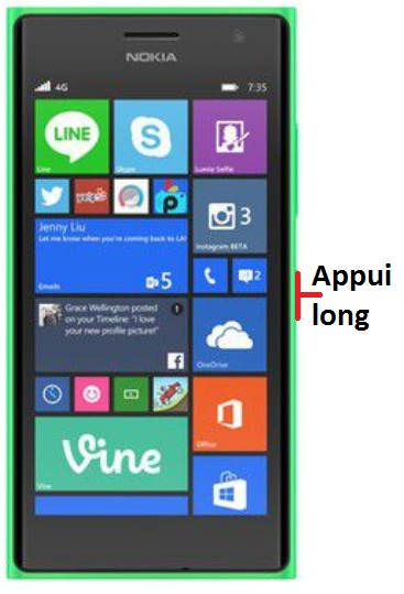 éteindre Lumia 735