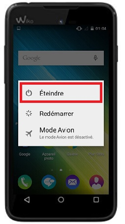 éteindre Wiko Sunny