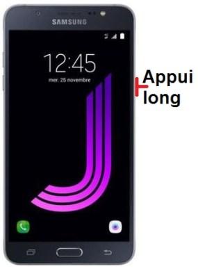 éteindre Samsung J7 2016