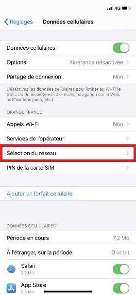 Échec réseau appel iphone 8
