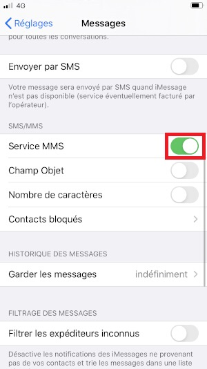 MMS iPhone SE 2020 services MMS