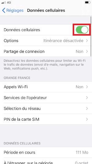 MMS iPhone SE 2020 données cellulaires
