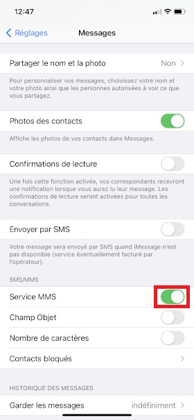 MMS iPhone XR services MMS