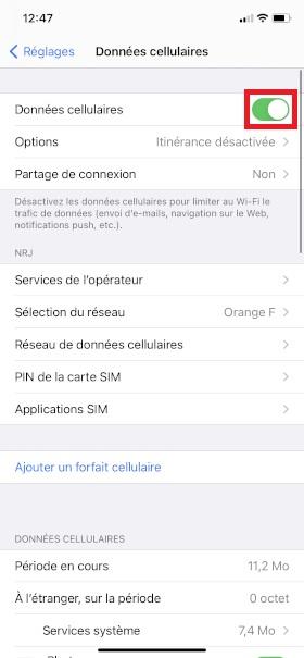 MMS iPhone XR données cellulaires