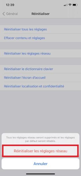 Échec réseau appel iPhone XR