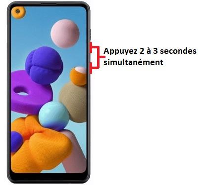 éteindre Samsung A21
