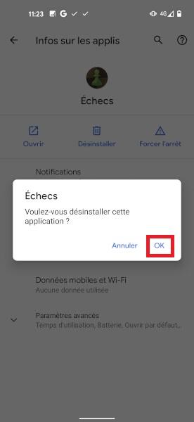 supprimer application Google Pixel 5
