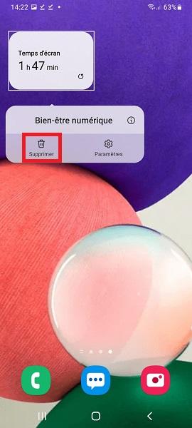 supprimer widgets Samsung A01