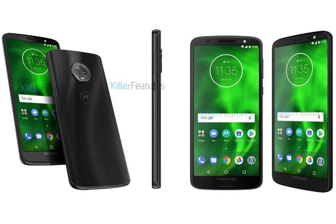 Bild på Moto G6 visar fingeravtrycksläsare monterad på framsidan