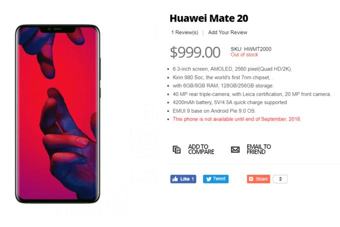 Extra: återförsäljare släpper bild och specifikationer på Huawei Mate 20 i förtid