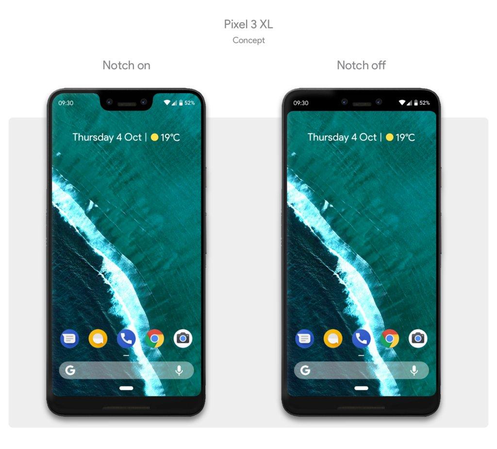 Så här kan Pixel 3 XL se ut med och utan flärp