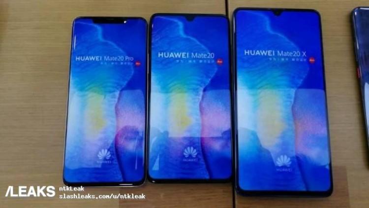Bild visar Huawei Mate 20X mot Mate 20 och Mate 20 Pro