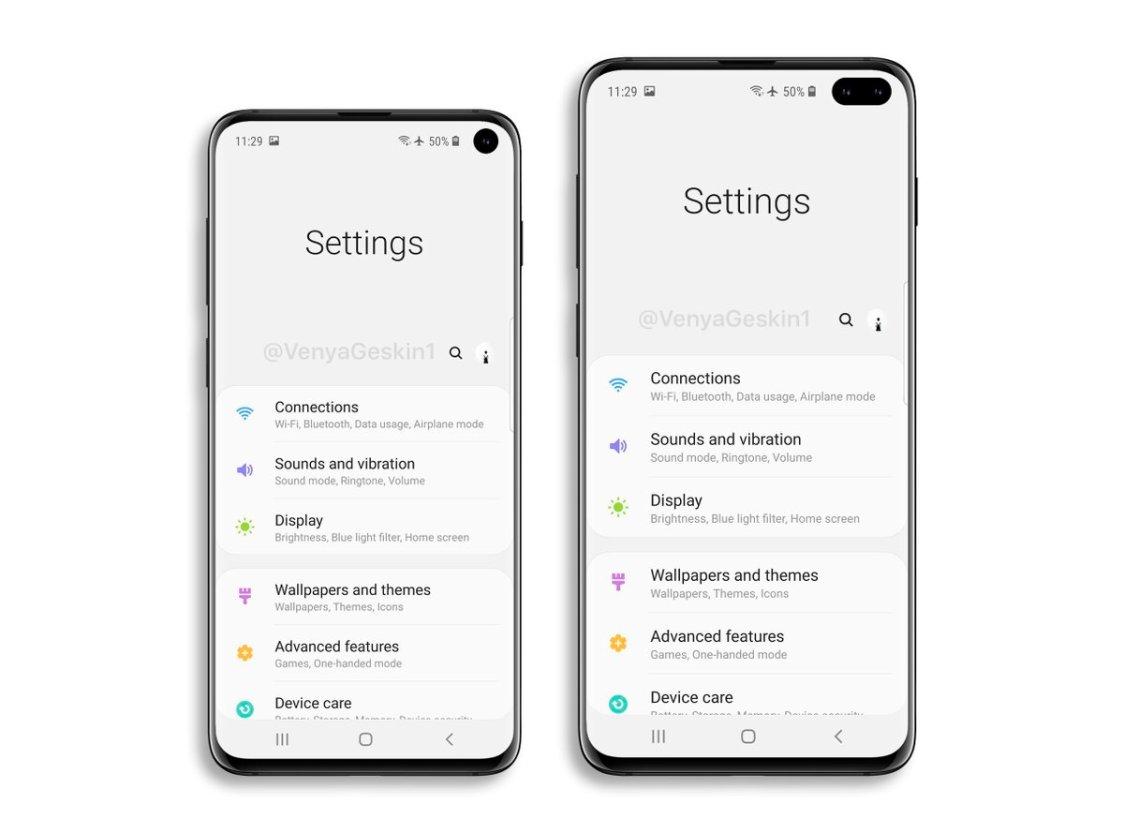 Så här kan inställningarna i Samsung Galaxy S10 och S10+ komma att se ut!