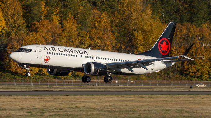 Air Canada har flyttat en tom Boeing 737 Max 8 från Kanada till USA