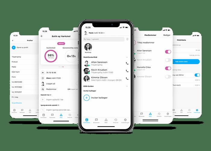 Sådan ser vores erhvervstelefoni app ud på en smartphone