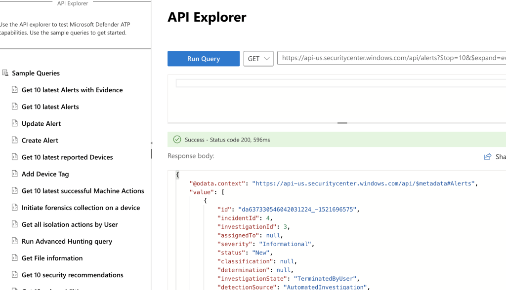 Defender API Explorer