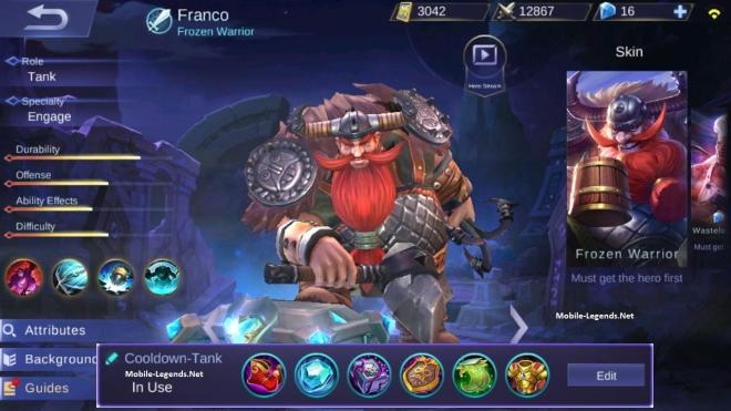 franco new cooldown-tank build 2020 - mobile legends