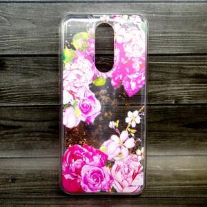 Чехол с жидкостью и бусинками с цветами для Xiaomi Redmi 8