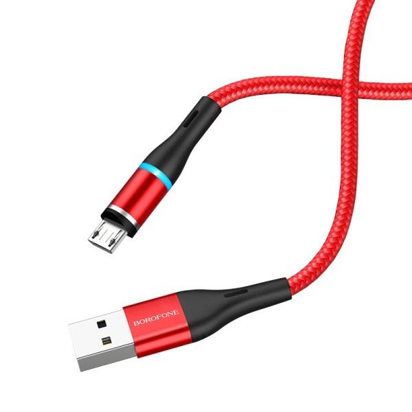 Кабель магнитный Borofone USB на Micro-USB BU16 Skill magnetic красный