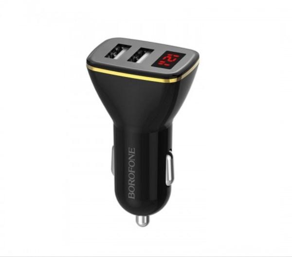Автомобильное зарядное устройство с дисплеем Borofone BZ11 2.1A черный