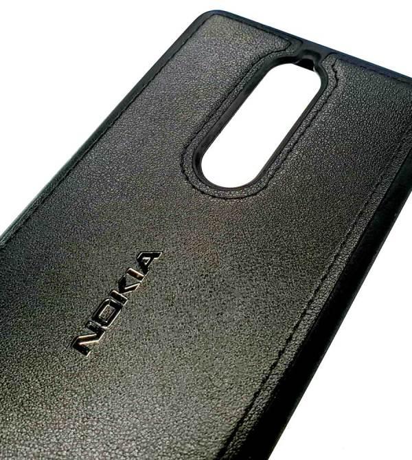 """Чехол силиконовый с накладкой """"под кожу"""" черный для Nokia 5.1"""
