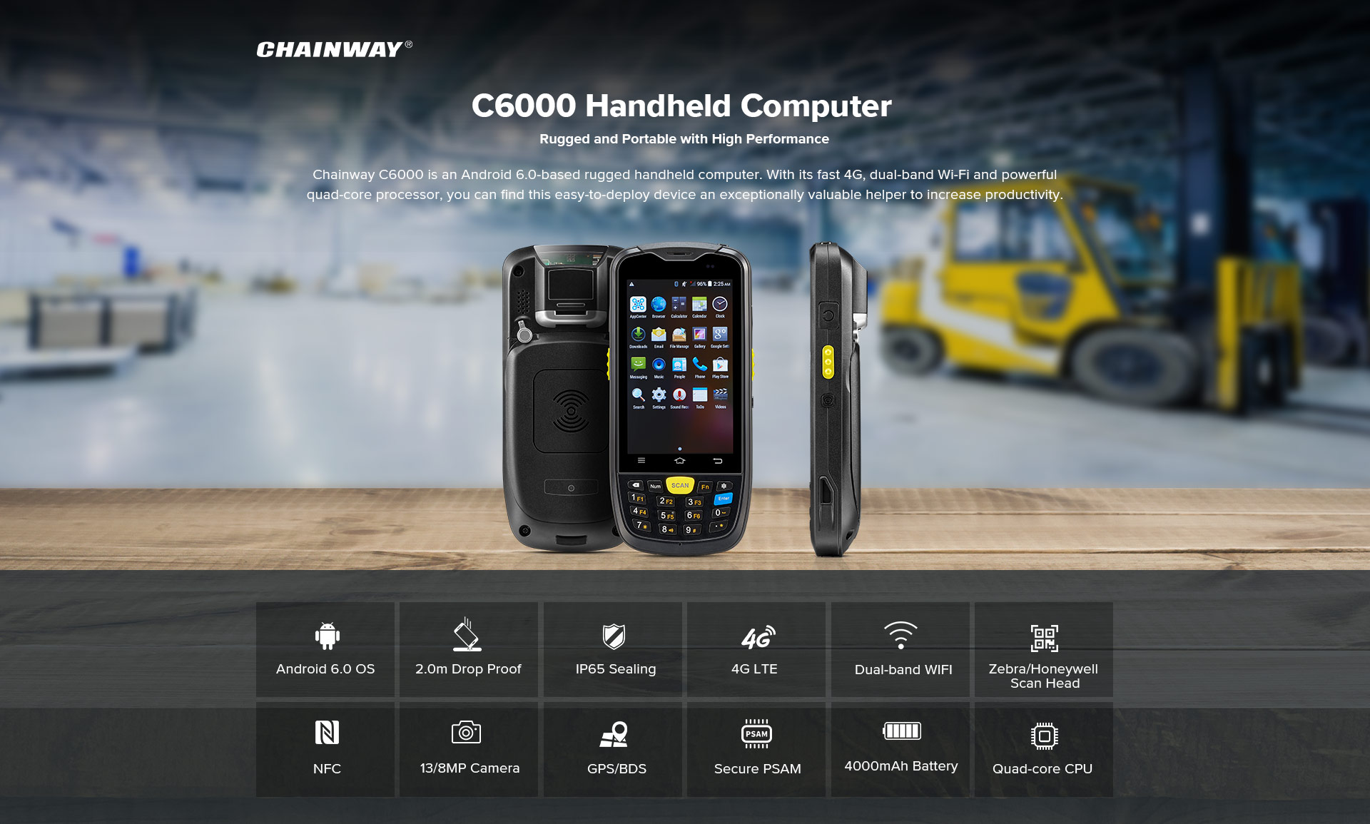 C6000 Rugged Handheld Computer Android - complete feature