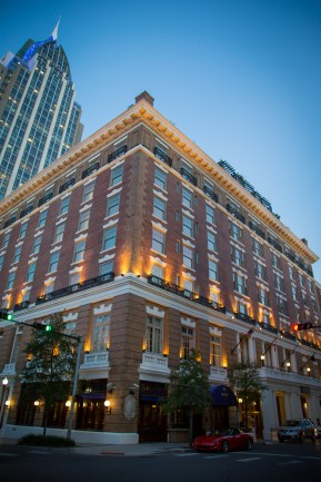 The historic Battle House Hotel at dusk