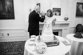 A bride and groom toast