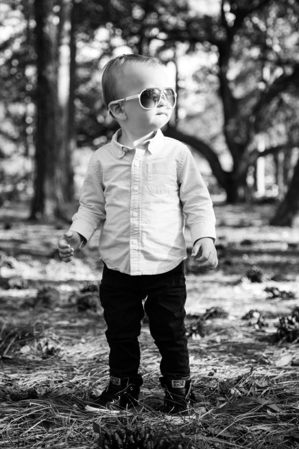 Stylish toddler in sunglasses