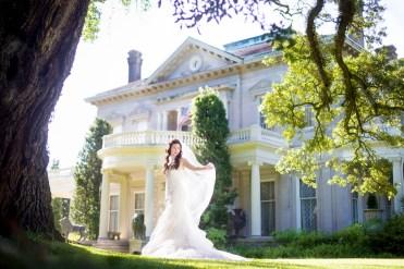 Bride at a gracious Southern mansion.