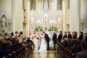 The couple's first kiss at St. Joseph Chapel