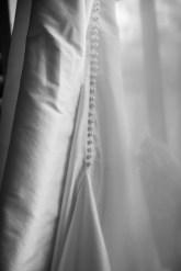 Pearl buttons on a hand-made silk wedding dress