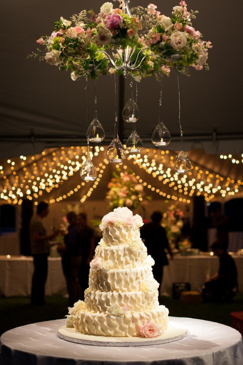 An elegant cake on display at the wedding reception