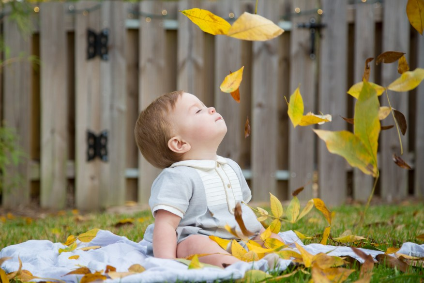 Leaves fall on baby boy