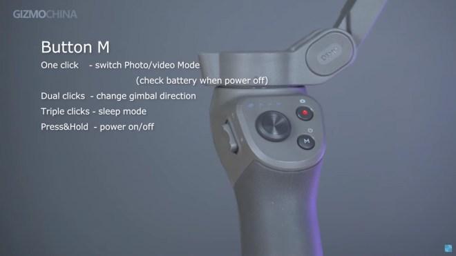 DJI Osmo Mobile 3, Buttons