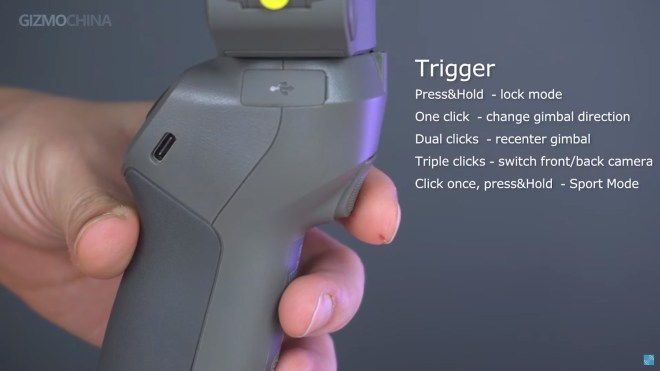 DJI Osmo Mobile 3, Trigger