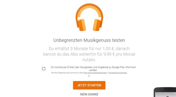 google play musik 1 euro